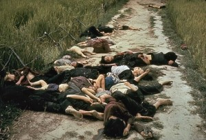 United States Army photographer Ronald L. Haeberle on March 16, 1968 in the aftermath of the My Lai massacre showing mostly women and children dead on a road.