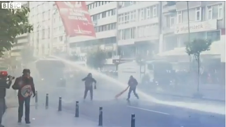 Water cannon and tear gas at Taksim Square in Istanbul, May Day, 2014
