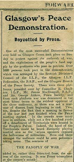 WW I Glasgow Peace Demonstartion