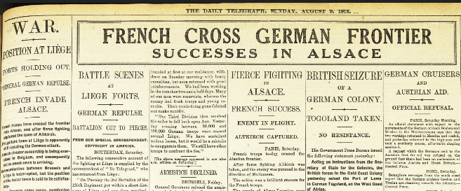 Daily Telegraph, Aug 9, 1914