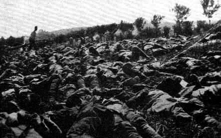 The dead from a poison gas attack near San Martino of Carso, June 30, 1916