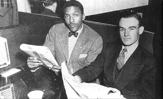 Bayard Rustin and George Houser, undated, sitting in at Cleveland restaurant